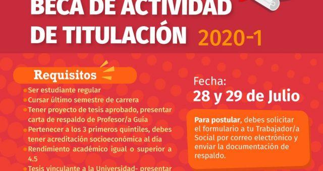 Postulación Beca de Actividad de Titulación 2020-1